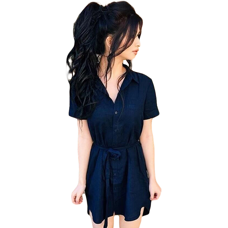 Women Shirt Dress Navy Blue Short Sleeve Dress Single ...