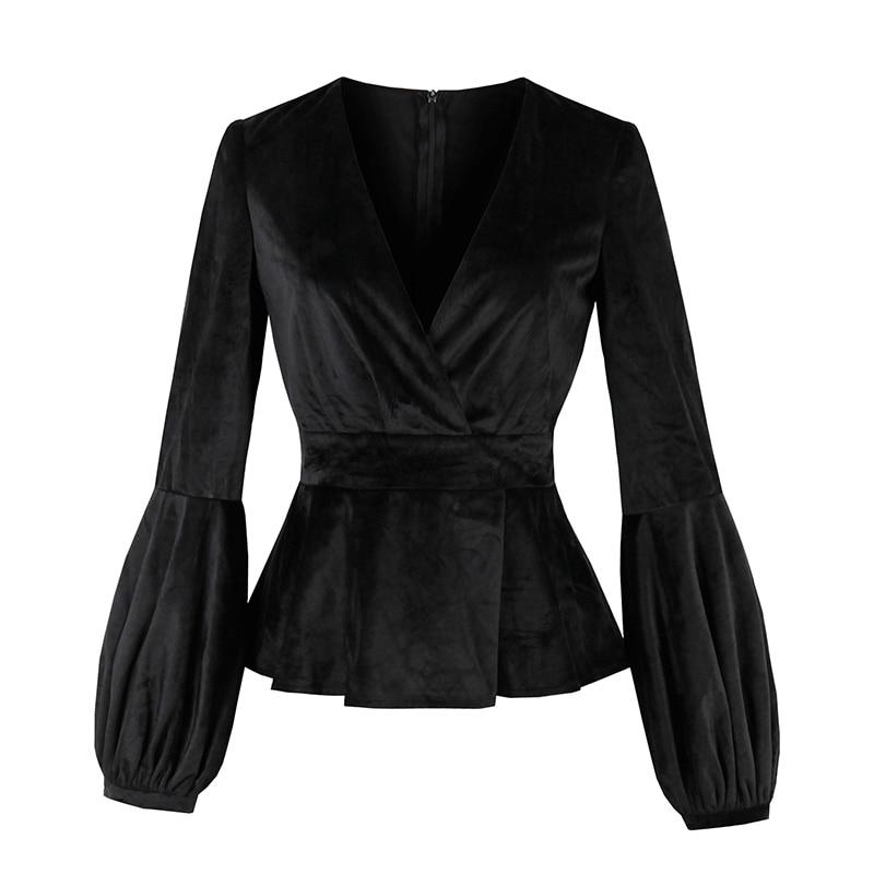 Clocolor Lantern Sleeve Velvet Fabric V Neck Sexy Slim Tops Fall 2018 Autumn Women New Fashion Style Shirts