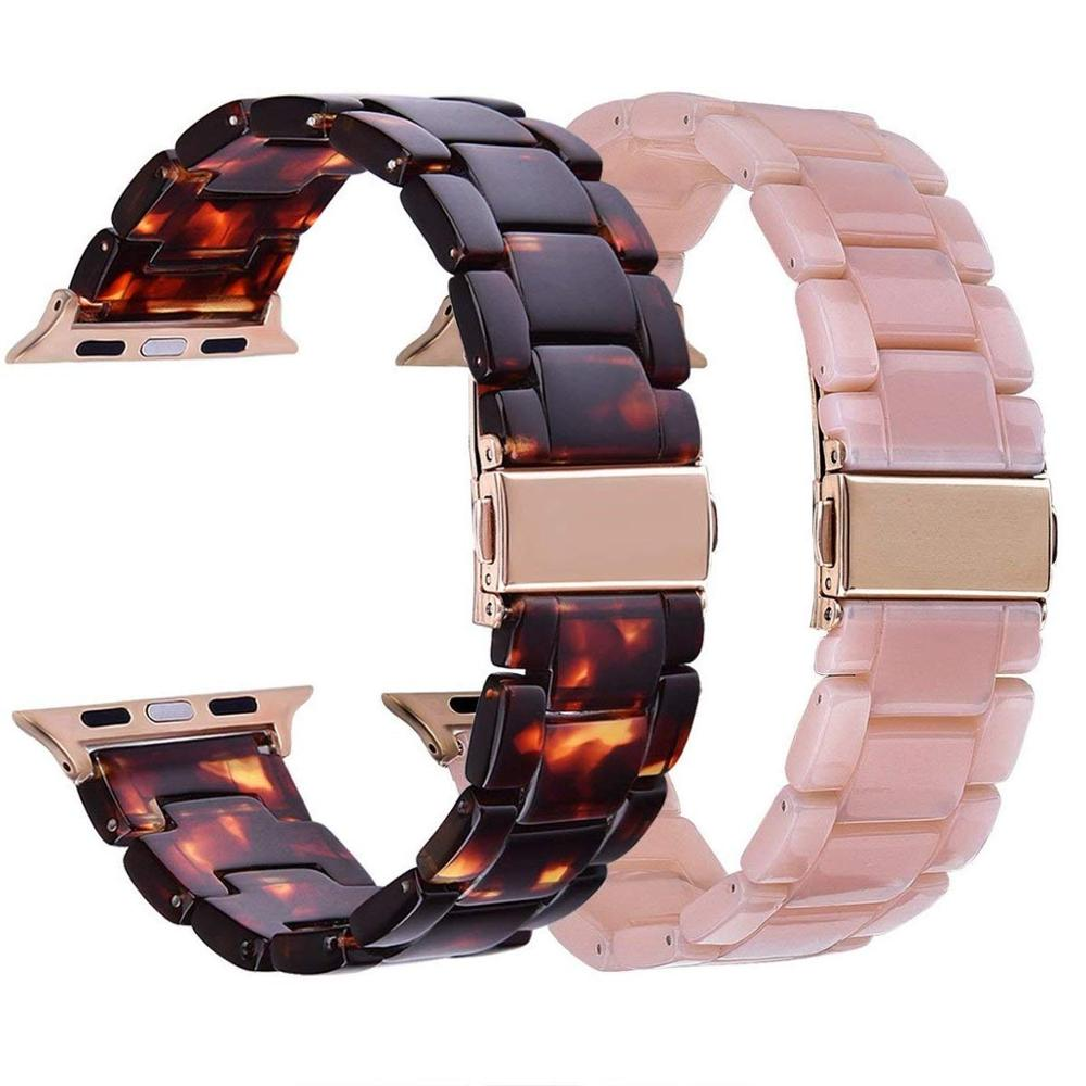 Resin Bracelet For Apple Watch Band 44mm/42mm/40mm/38mm Women&Men Stainless Steel Buckle Watch Strap For Iwatch Series 5 4 3 2 1