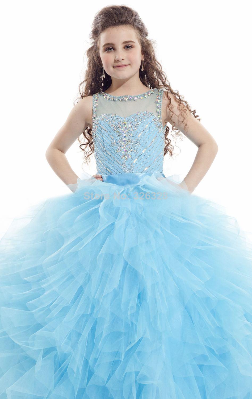Sky Blue Fuchsia White Ball Gown Floor Length Girls Dresses For ...