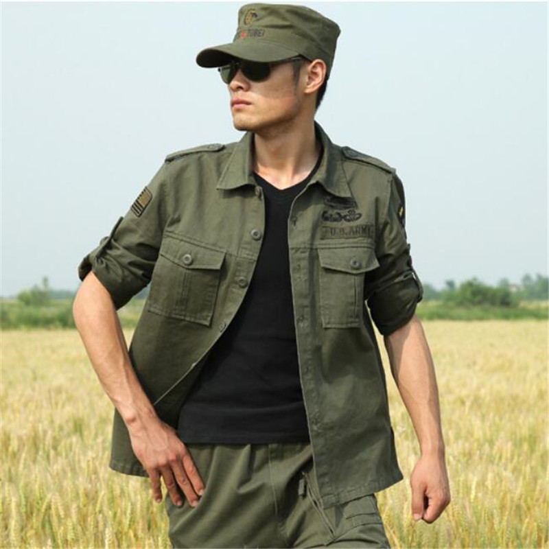New Spring Summer font b Men b font font b Shirt b font Long Sleeve Military