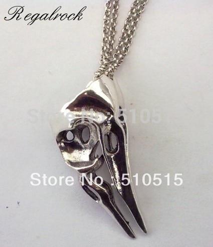 Crow Bird Skull Pendant Necklace skull necklace raven skull