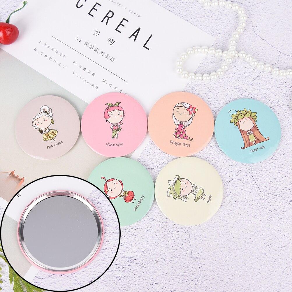 Nettes Mädchen Mini Taschenverfassungsspiegel Kosmetische Kompakte Metall Spiegel Farbe Zufällig Kosmetikspiegel Spiegel Schminkspiegel