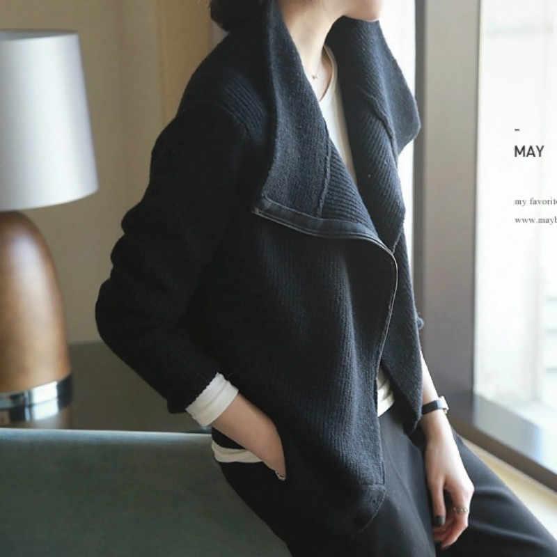 Индивидуальный зимний кашемировый кардиган женский на молнии с длинными рукавами вязаный свитер водолазка свитер пальто шерстяной свитер Повседневный