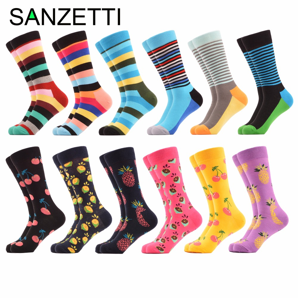 SANZETTI 12 pairs/lot Funny Combed Cotton Brand Mens Socks Stripe Fruit Pattern Colorful Dress Causal Wedding Socks