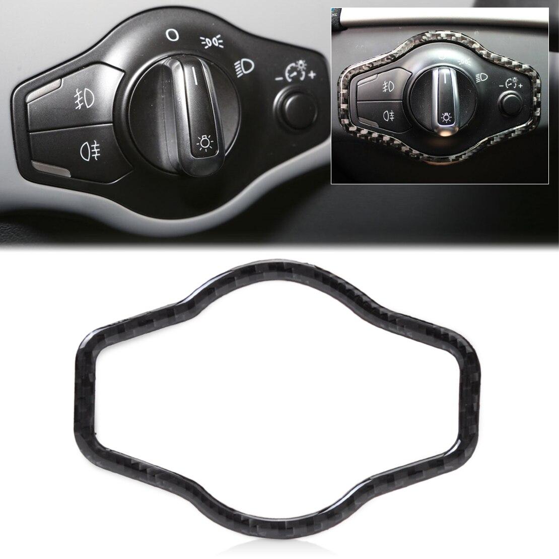 DWCX car-styling 1pc Carbon Fiber Headlight Button Cover Trim For Audi A4 B8 A5 Q5 8R 2008 2009 2010 2011 2012 2013 2014 2015