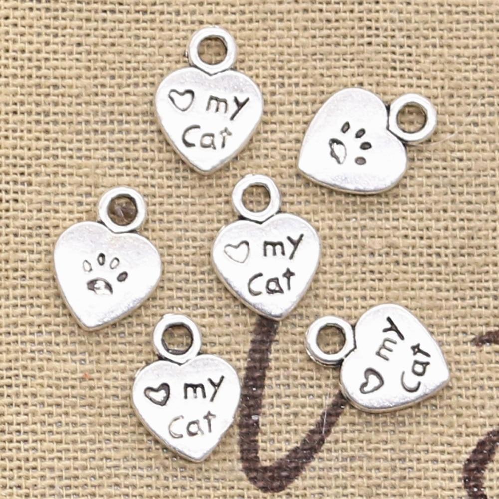 50 шт., подвески в виде сердца, Love My Cat, 12x9 мм, ручная работа, винтажные бронзовые тибетские Подвески серебристого цвета, сделай сам, для браслет...