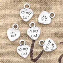 50 pçs encantos coração amor meu gato 12x9mm pingente feito à mão que faz o ajuste, vintage tibetano bronze prata cor, diy para pulseira colar
