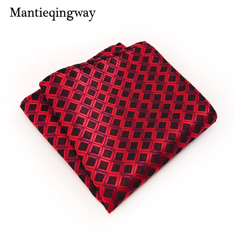 Mantieqingway 25*25cm Polyester Handkerchief Pocket Square For Mens Suit Striped Plaid Pocket Towel Wedding Hankies Chest Towel