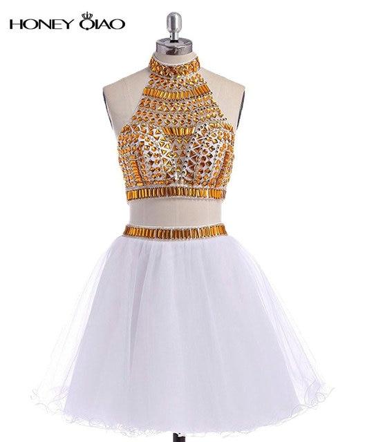 a1814d8e8 Miel Qiao Halter Dos Piezas Blanco Vestido de Fiesta Con Listones Dorados  2016 Corto de Tulle
