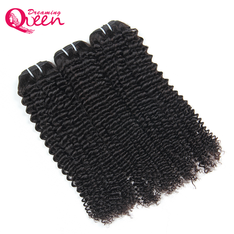 Mongolian Kinky Curly Hair Weave 3 Bundles 100% Human Remy Hair Dreaming Queen Hair Weaving Extensions Natural Color