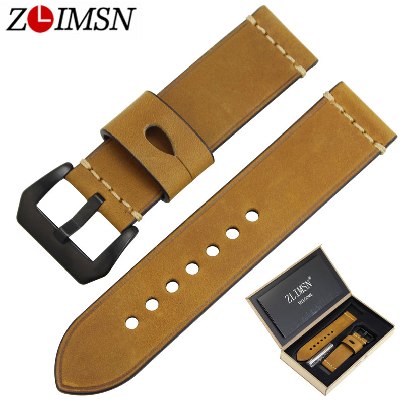ZLIMSN Genuine Leather Watch Bands Straps Replacement 22mm 24mm Watchband Black 316L Stainless Steel Buckle Watch Accessories croco pattern genuine casfskin 19mm 20mm 22mm replacement watchband watch straps for brand watch