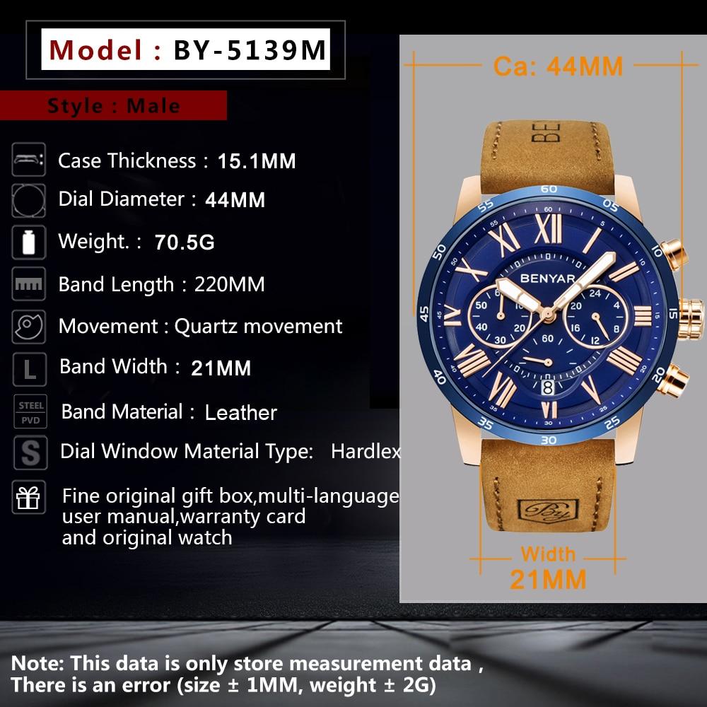 2019 Topo Da Marca De Luxo Benyar Moda Azul Relógios Homens Relógio Quartzo Masculino Cronógrafo Couro Relógio De Pulso Relogio Masculino Relógios De Quartzo Aliexpress