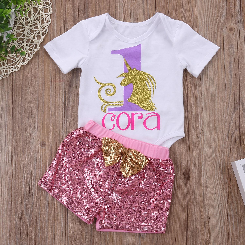 Cotton Newborn Baby Girls Unicorn Tops Romper Sequins