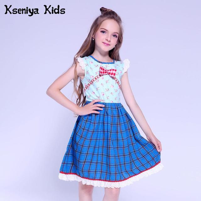 Kseniya Kids Baby Girl Lace Dress Princess Girl Birthday Party Dresses Plaid Flower 6 Years Girls Summer Dress Cute Children
