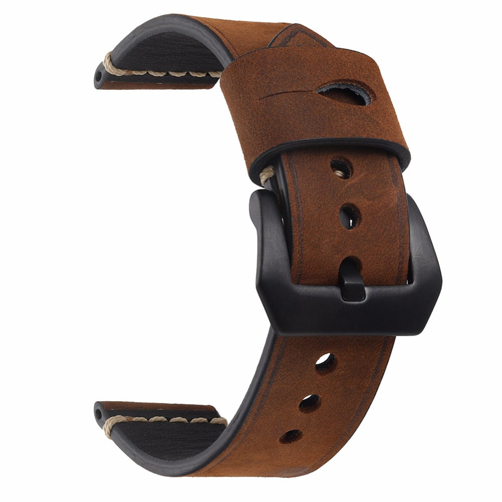 EACHE High Quality Crazy Horse Genuine Leather Watchband Handmade Watch band With Speical Loops Different colors 20mm 22mm 24mm eache 20mm 22mm genuine leather watchband with retro matte leather watch band crazy horse watch strap quick release spring bar