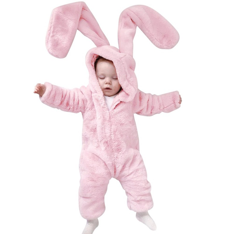 Infant Cute Baby Girl Boy Clothes Big rabbit ears brushed hooded conjoined jeans baby warm climbing clothing pink Rompe Y13r