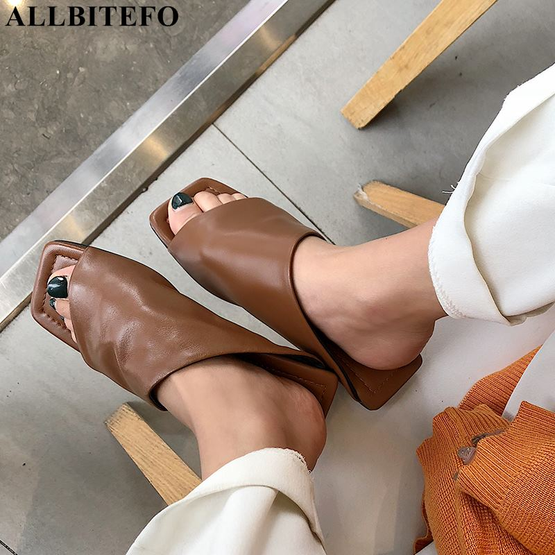 ALLBITEFO new summer genuine leather low heeled comfortable women slipper high quality beach women shoes flip