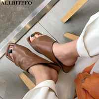 ALLBITEFO new summer genuine leather low-heeled comfortable women slipper high quality beach women shoes flip flops girls shoes