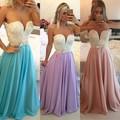Vestidos longos pérola azul Prom Vestidos de comprimento Vestidos de festa vestido de vestido de festa sem encosto