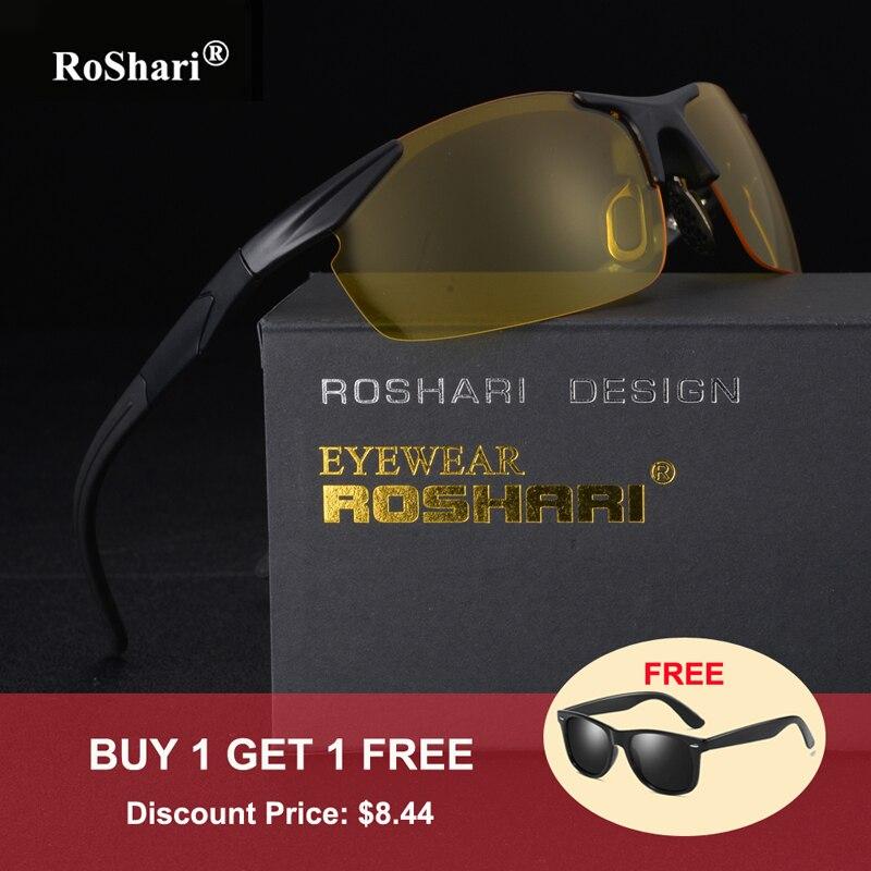 RoShari Heren Gepolariseerde Zonnebril Nachtzicht Merk Designer vintage Geel Rijden zonnebril heren gafas lentes de sol hombre