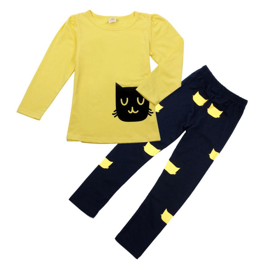 Nice girls clothing sets Kids Girl Long Sleeve Cartoon Cat Shirt Pant Suit children set ropa de ninas casual sport suit set 4-7T autumn winter girls children sets clothing long sleeve o neck pullover cartoon dog sweater short pant suit sets for cute girls