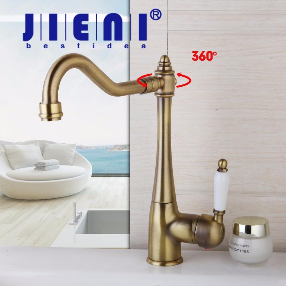 JIENI Stock Antique Brass basin faucet bathroom faucet basin mixer basin tap torneira 8414