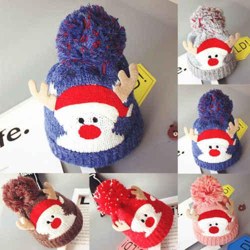 ใหม่ฤดูหนาวหมวกเด็กน่ารักถัก Beanies เด็กหญิงคอสเพลย์หมวกโครเชต์หมวกอุปกรณ์เสริมหมวกตลกหมวก Bonnet หมวกคริสต์มาส