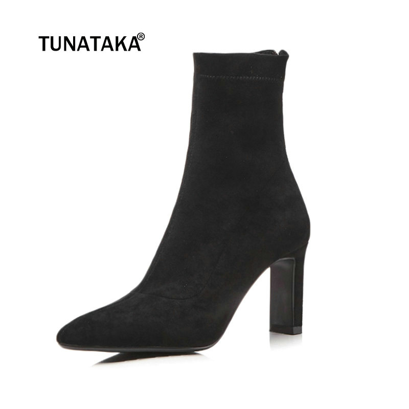 Women Suede Ankle Boots Sexy Thin High Heel Fashion Boots Pointed Toe Zipper Winter Boots Female Shoes Black Gray universe women winter ankle boots cow leather point toe zipper sexy thin heel black short boot matte boots female shoes g351