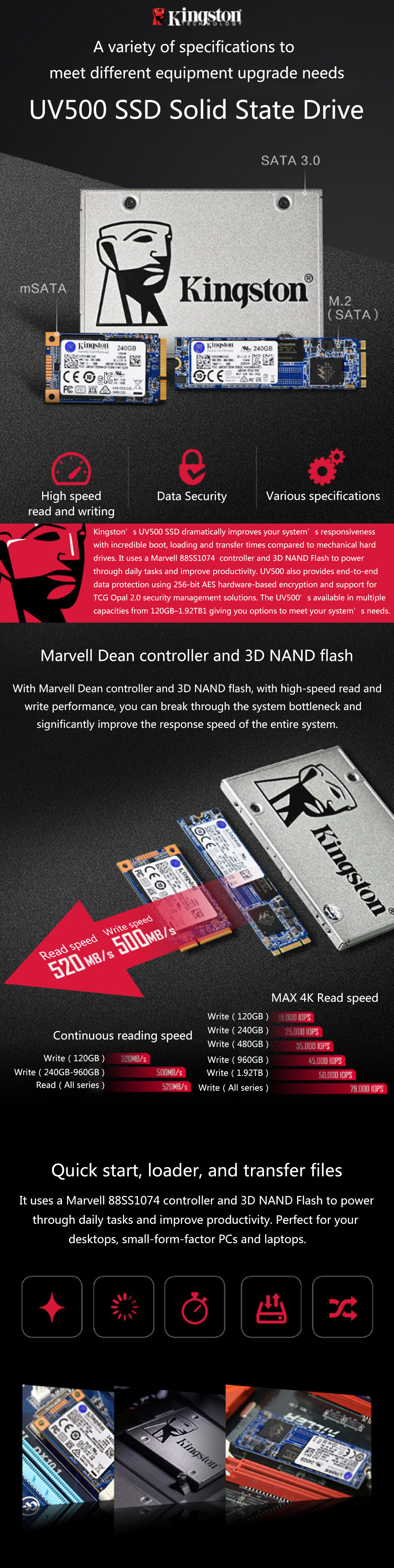 Kingston M.2 ssd 120GB 240GB 480GB 960GB Hard Disk HDD SSD M.2 Internal Solid State Drive Laptop Desktop UV500