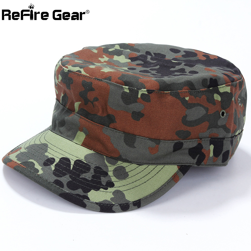 ReFire Gear Tactical Airsoft Flecktarn Camouflage Cap Men US German Soldiers Combat Army Baseball Cap Unisex Paintball Flat Hats