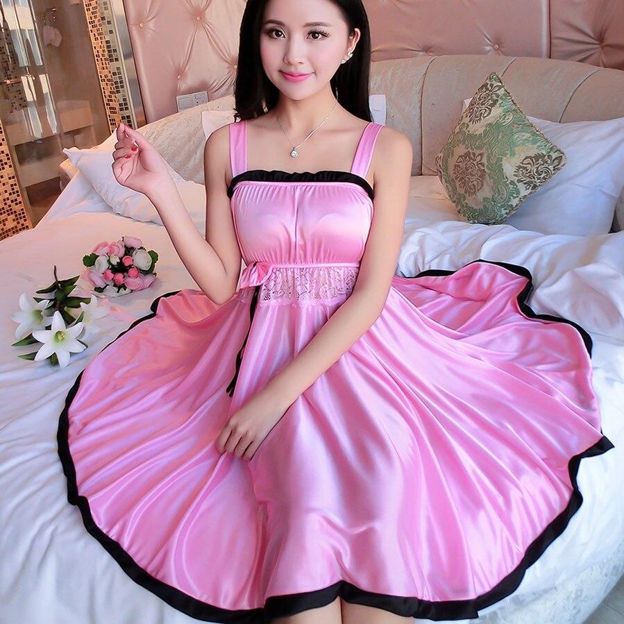 2019 Women nightwear Sexy Mini nightgowns tempatation girls spagetti strap skirts summer style silk lace sleepwear Night Dress