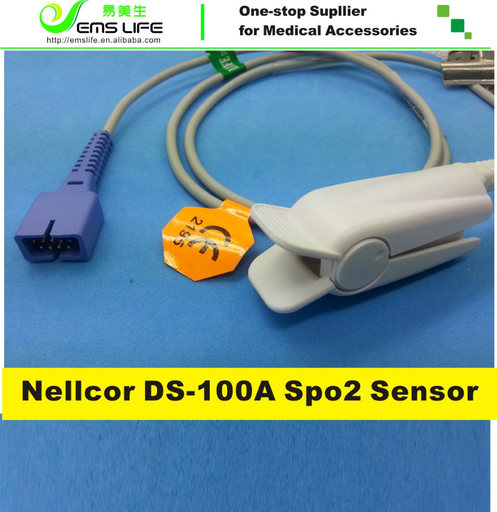 1M length Adult Finger Clip compatible for nellcor reusable spo2 sensor DS-100A with oximax technology