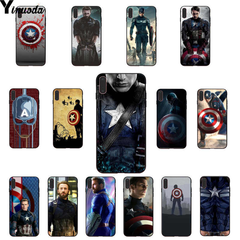 Yinuoda Marvel Heroes Captain America Customer High Quality Phone Case for Apple iPhone 8 7 6 6S Plus X XS MAX 5 5S SE XR Cover