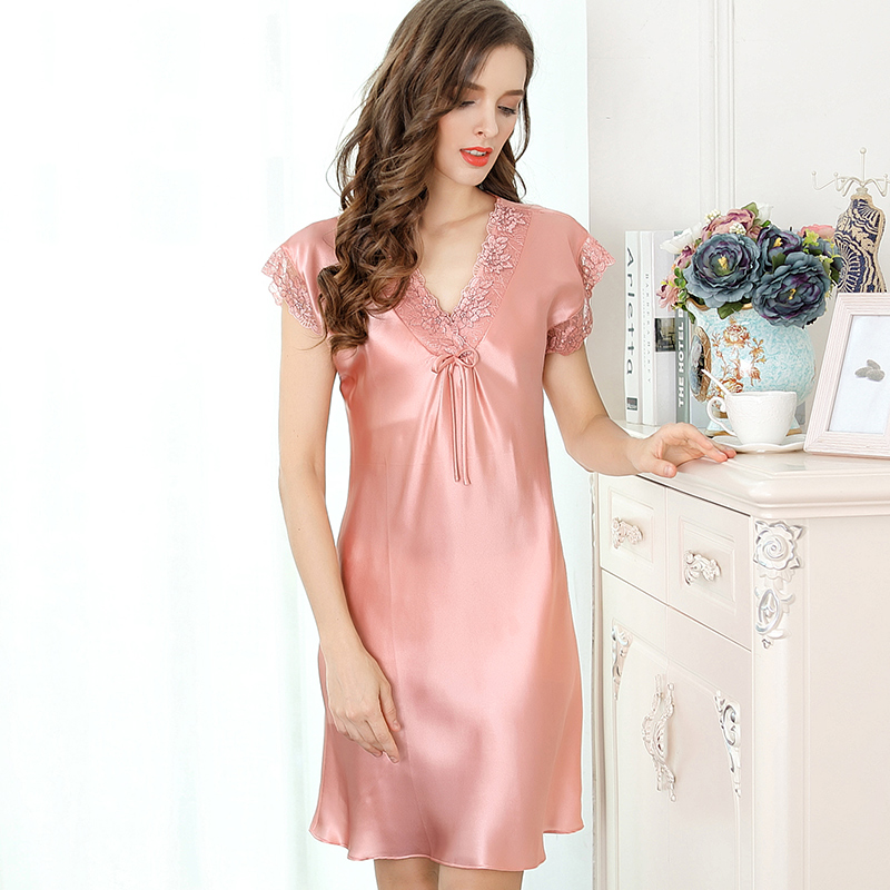 100% Silk Stain Sleep Wear Night Gown Dress Nightwear Sleeping Dress Pink Red Blue Lace Print Sexy Summer Homewear   Sleepshirt