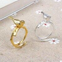 925 srebrny pierścień złoty kolor 3D ptak na oddział ręcznie otwarcia pierścienie dla kobiet mody biżuterii bague femme anel