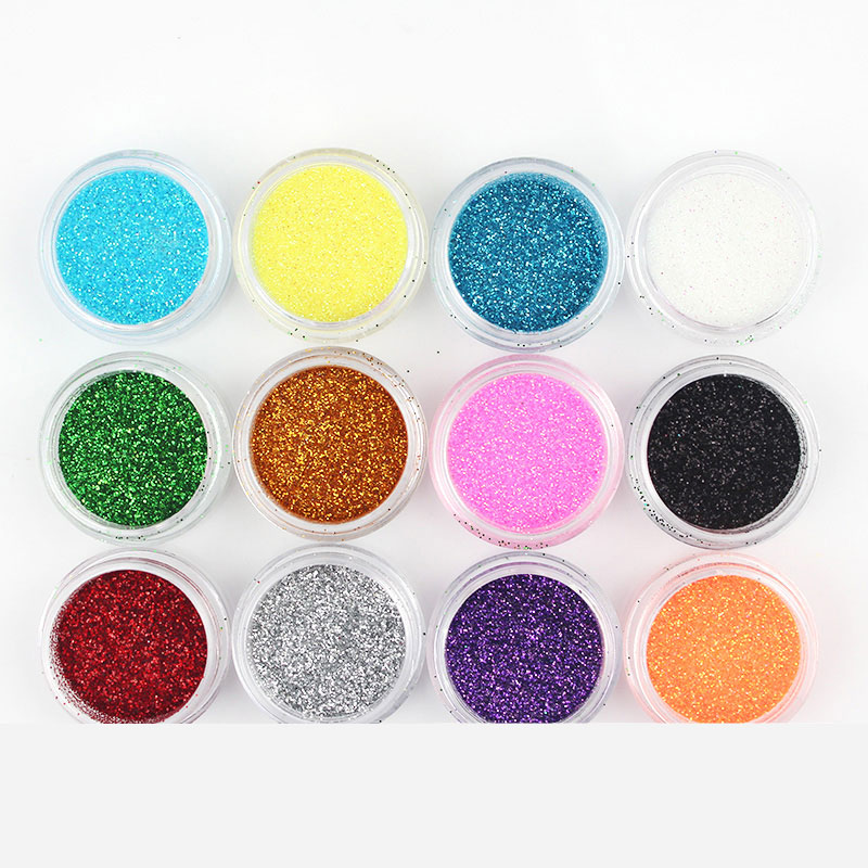 12 Color/Set Pigments For Nails Acrylic Powder Glitter