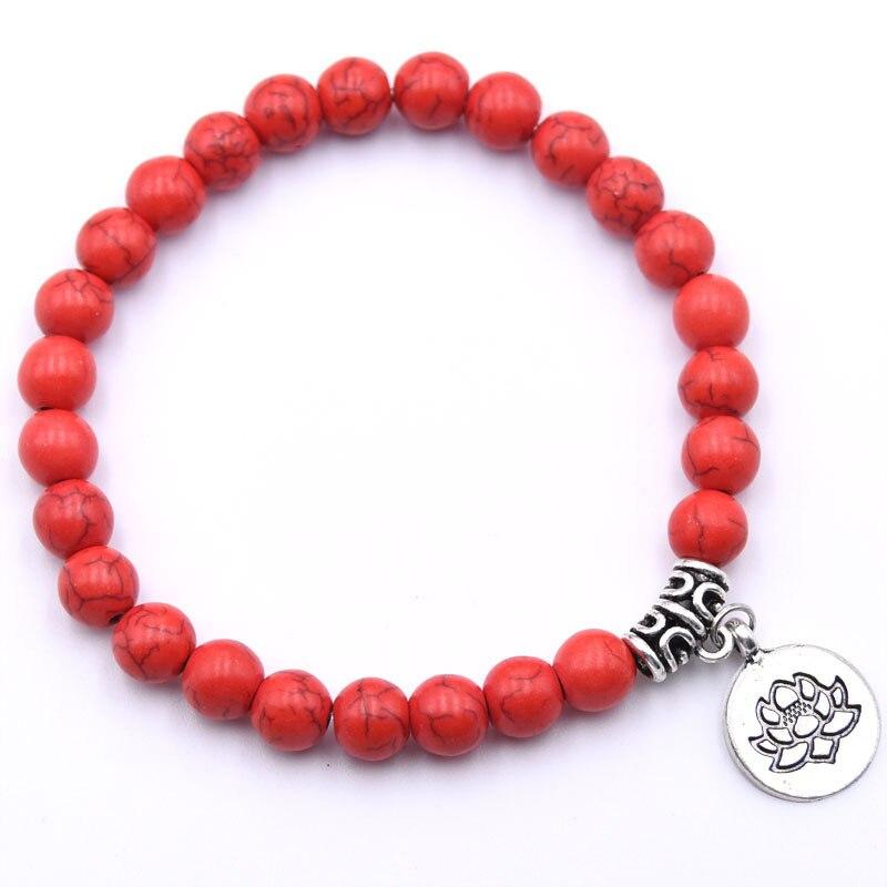 Natural Stone Lotus Buddha Beads Bracelet Matte Amazonite Mala Beads bracelets bangles For Women Men Yoga bracelet femme homme 6