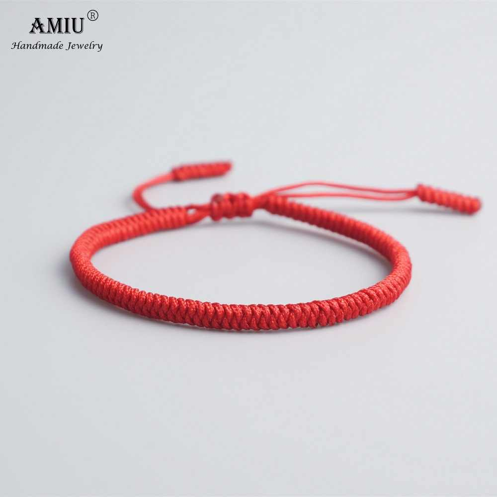 AMIU 19 Colors Tibetan Buddhist Love Lucky Charm Tibetan Bracelets & Bangles For Women Men Handmade Knots Rope Budda Bracelet