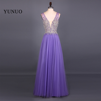 New Fashion Real Picture Tulle V Neck A Line Sleeveless Long Prom Dresses 2019 Backless Beading Floor Length Prom Dress YN61507 charming a line sweetheart sleeveless beading prom dress