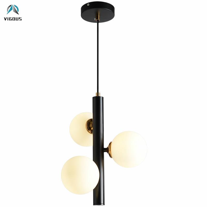 Objective Nordic Vertical 3 Light Glass Globe Lustre Chandelier Sofa Side Luminarias Led Pendant Chandelier Indoor Suspend Lamp Fixtures Lights & Lighting Chandeliers