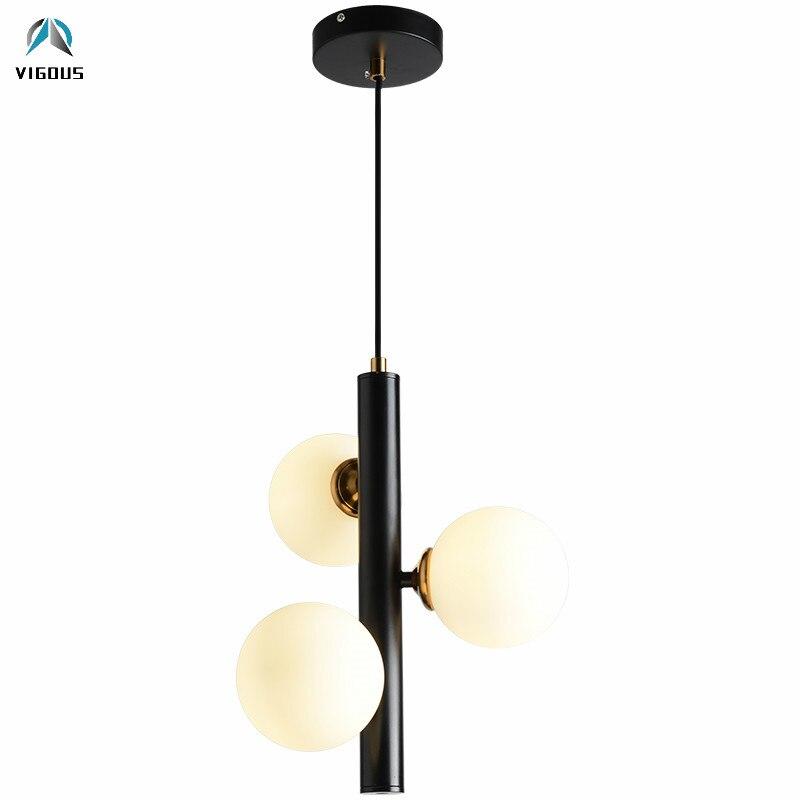 Objective Nordic Vertical 3 Light Glass Globe Lustre Chandelier Sofa Side Luminarias Led Pendant Chandelier Indoor Suspend Lamp Fixtures Ceiling Lights & Fans