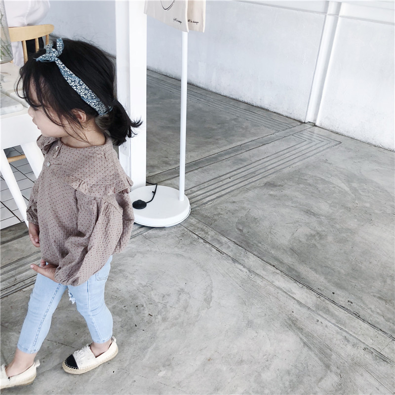 Wave Point Baby Long -sleeved Shirts 2019 Spring New Doll Lapel Toddler Girls Blouses Kids Clothes Girls Cotton Outfit Children