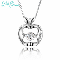 L Zuan New 0 025ct Diamond Necklaces For Women Apple Shape 18K Platinum Pendant Necklaces Wedding