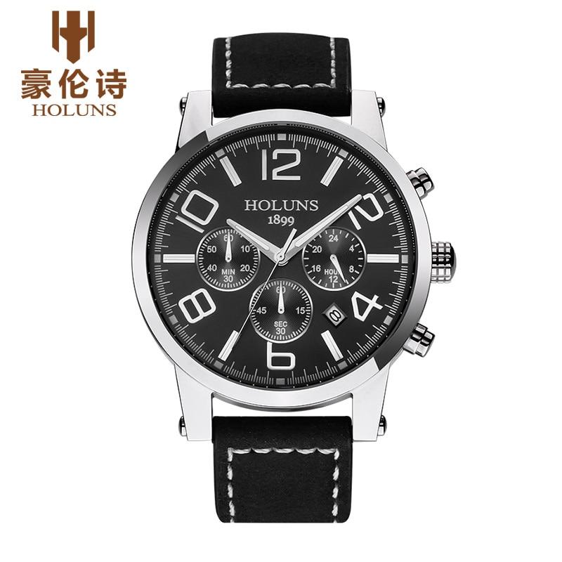 ФОТО HOLUNS TS103 Watch Geneva Brand Genuine multifunctional luminous watches men's watches Chronograph quartz relogio masculino