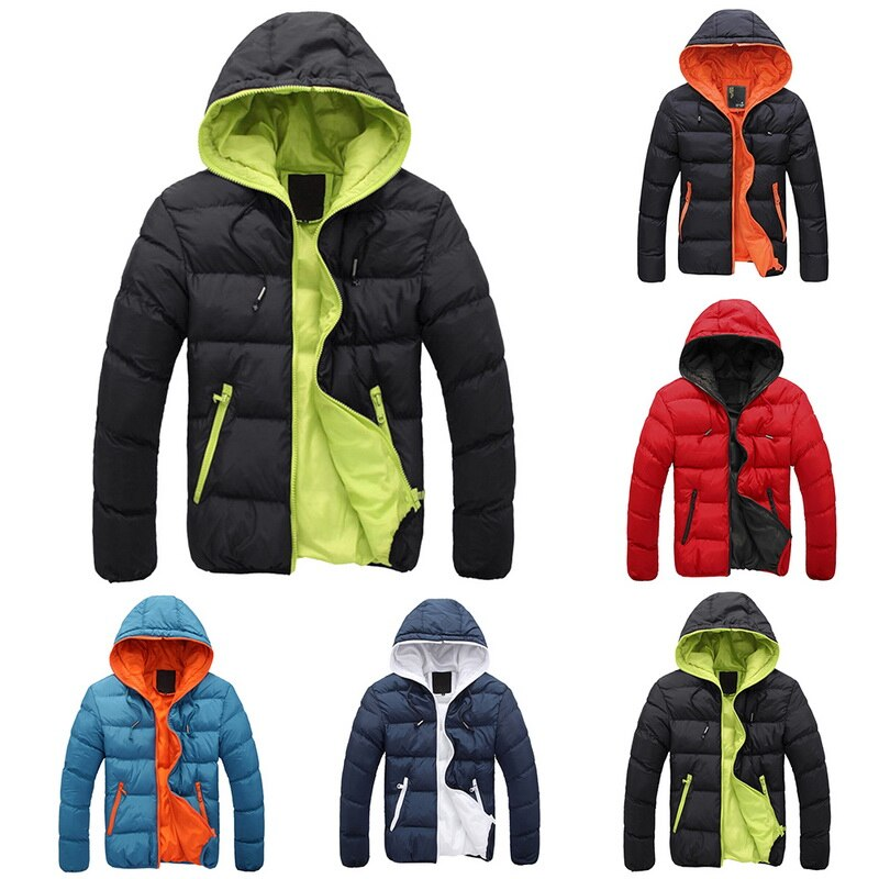 2018 Winter Autumn Thin Cotton Warm Outwear Parka Jacket Men Hooded Collar Coat Mens Warm Down Casual Coats with Zipper Pocket