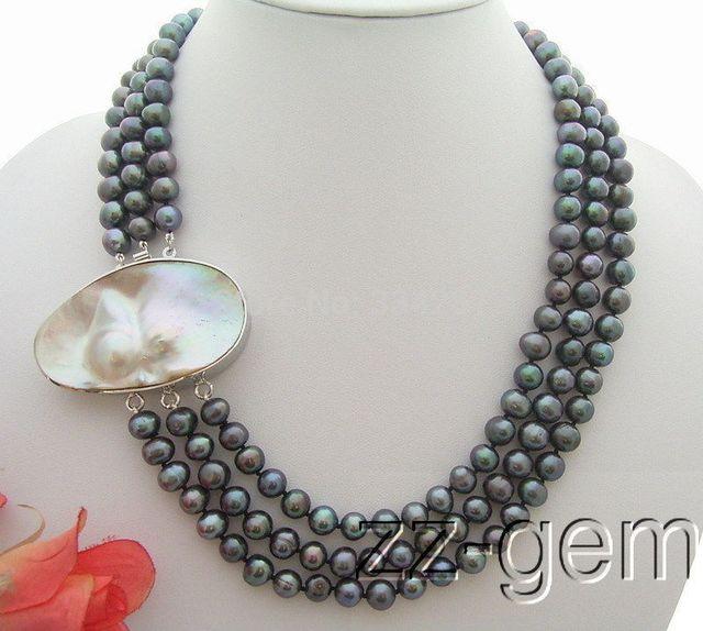 100% Venta completa 3 Strds 9 MM Negro Collar de Perlas Naturales Mabe Cierre