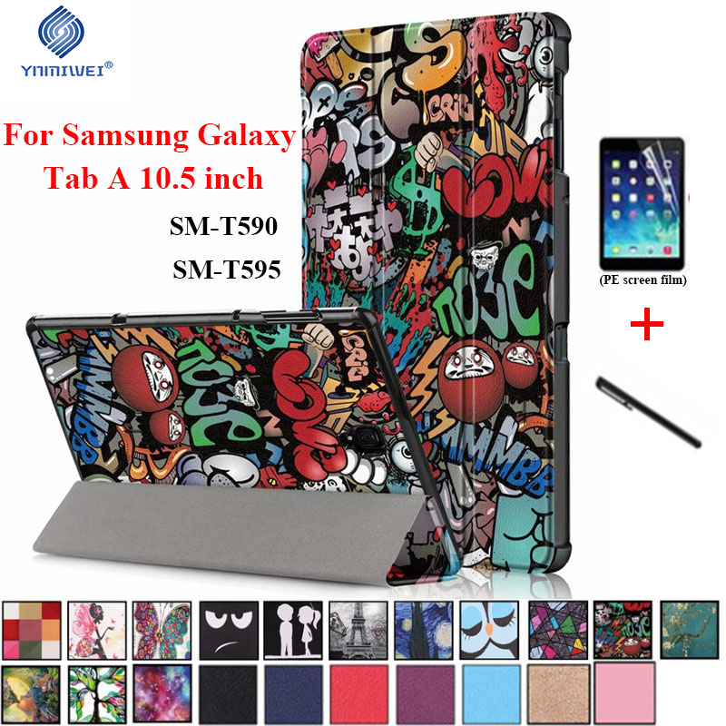 Magnet Smart Case For Samsung Tab A 10.5 2018 T590 T595 PU Leather Stand Cover For Samsung Galaxy Tab A2 10.5 2018 SM-T590/T595 5v 3500mah external power back battery case w pu front cover for samsung galaxy s5 black
