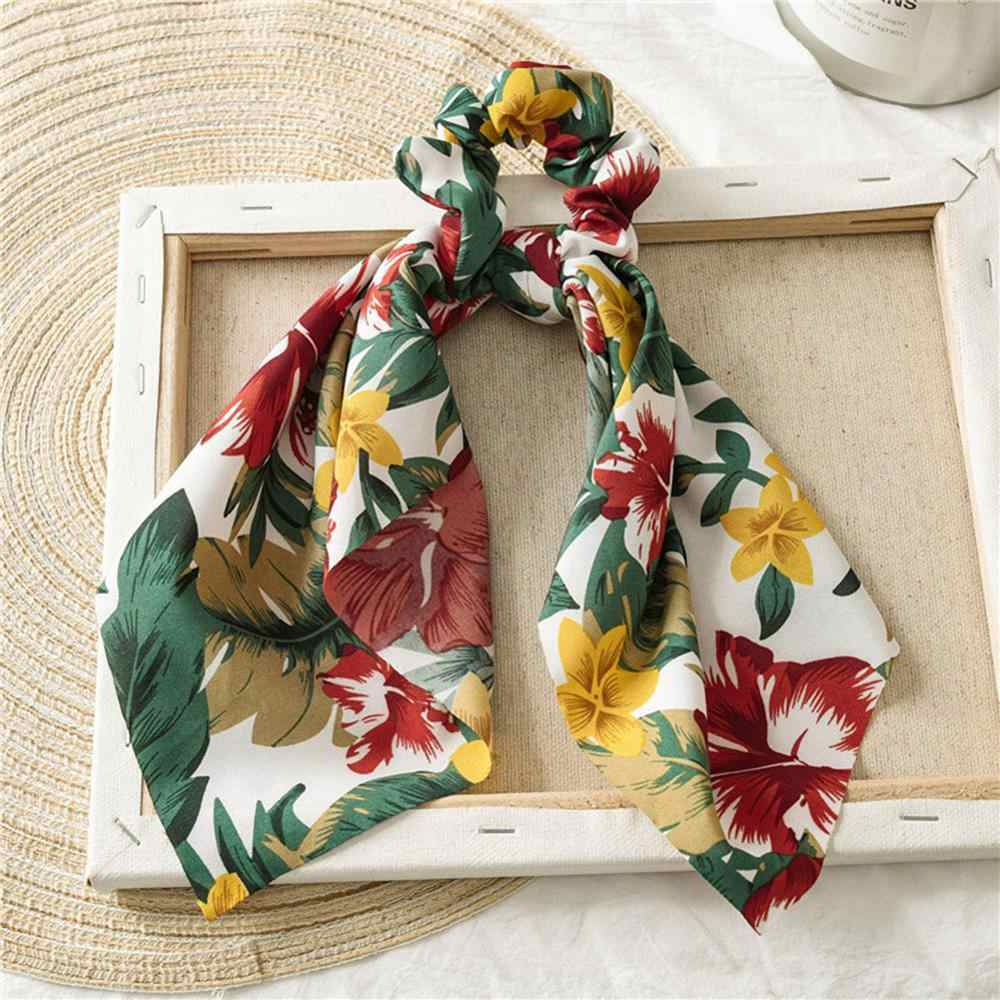 Bohemian Floral Print Bow Streamers Elastic Hair Ribbon Bands Scrunchie Knotted Women Girls Hair Scarf Ties Gum Hair Accessories