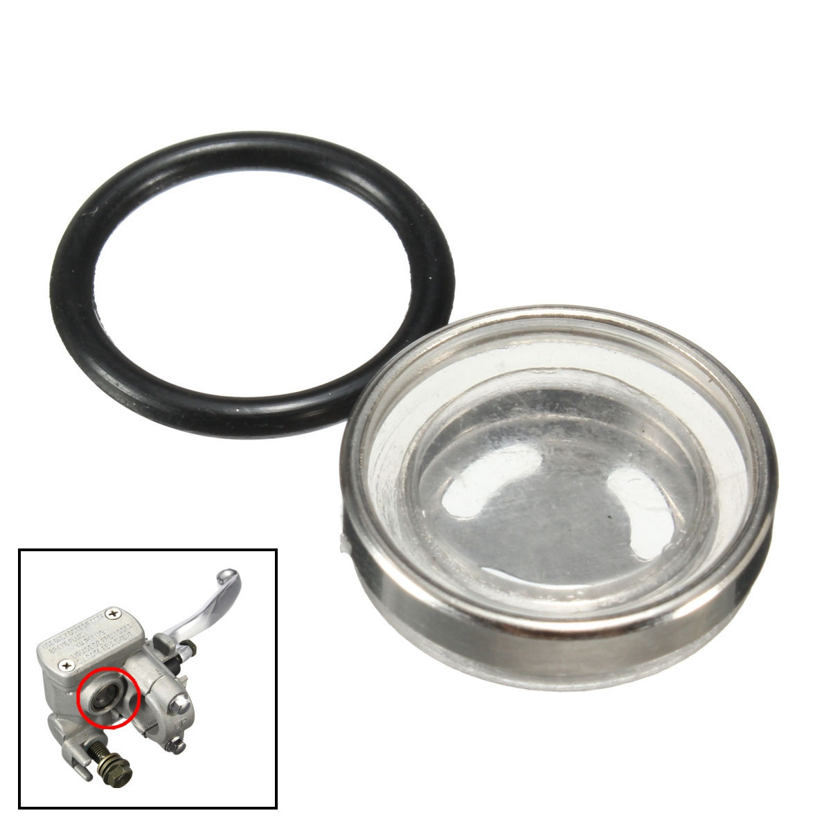 2pcs 18mm Motorcycle Master Brake Cylinder Reservoir Sight Glass with Rubber Gasket for Motorbike Brake Clutch Levers(China)